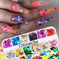 12grid Holographic 3D Butterfly Art Nail Glitter Sequins Laser Flakes Decoration