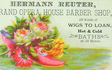 1870's-80's Hermann Reuter Grand Opera House Barber Shop Wigs To Loan Card F80