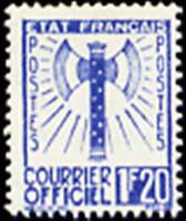 "FRANCE STAMP TIMBRE DE SERVICE YVERT N° 7 "" FRANCISQUE 1F20 BLEU "" NEUF xx TTB"