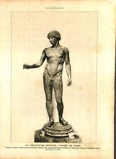 Archéologie Éphèbe de Pompéï statue de bronze par Phidias ILLUSTRATION 1926