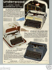 1960 PAPER AD Underwood Golden Touch Portable Typewriter Deluxe