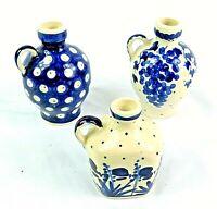 """Wiza Boleslawiec Polish Ceramic Pottery Bud Vases Lot of 3 2.5"""" to 3.5"""" Tall"""