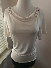 Rachel Roy Ivory Silk Jeweled Blouse Top Size extra small