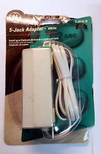 (LOT OF 4) General Electric TL26131 1 to 5 phone jack  6p4c  5' cord  Beige NEW!