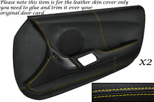 YELLOW STITCH 2X FULL DOOR CARD LEATHER SKIN COVER FITS TOYOTA SUPRA MK4 93-02