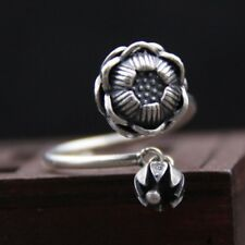 Solid 925 Sterling Silver lotus flower  VINTAGE  ring rings S2412