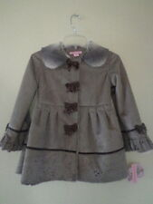 Girl's Toddler Copper Key Faux Suede Dress Coat With Bows design -Brown 4/5