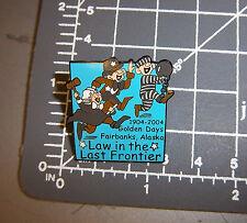 2004 Golden Days Fairbanks Alaska Collectors Lapel Pin, law in the last frontier