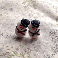 snowman earrings Studs Glitter Christmas Xmas Festive Handmade fimo