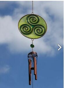Irish Celtic Triskelion Windchime - Spiral Pipes Sun Catcher with Stained Glass