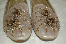 Flats Shoes in Gold Size 5 with Rhinestones and Skull Embellishments
