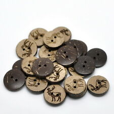50PCs New Sewing Buttons Coconut Shell 2 Holes Scrapbooking XMAS Elk Deer Crafts