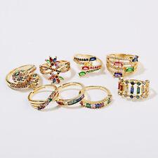 Men Women Luxury Fashion Symbol CZ Zircon Crystal Adjustable Rainbow Rings Gift