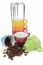 Coloured Ceramic Espresso Cup Tower, Set of 6 Coffee Cups & Stand