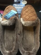 ISOTONER SIGNATURE MEMORY FOAM SLIPPERS-NWT-CAMEL-FUR LINED-7.5-8 RUNS SMALL