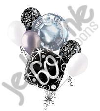 7 pc 60th Elegant Happy Birthday Sparkles Balloon Bouquet Black Damask Silver