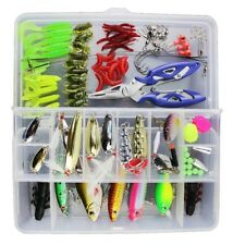 Mixed Fishing Lures 101Pcs Spinners VIB Hooks Swivels Pliers Tackle Boat Bass UK