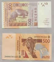 New: BENIN: West African States 500 Francs (B ) p-619H 2020 - UNC Banknote