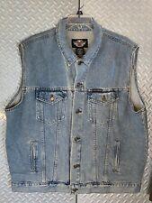 Mens Harley Davidson Denim Jacket Vest Size XXL 2XL ~ Stone washed  Big & tall
