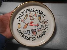 Vintage 1957 Continental Can Veterans Banquet Glass Tray or Ashtray