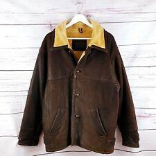 Mens Brown Vintage Real Leather Sheepskin Aviator Bomber Jacket Size Medium M