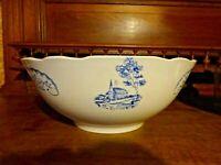 "Antique Digoin Sarreguemines Serving Bowl White & Blue ""Bernadette"" Church"