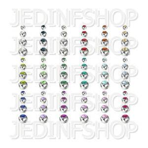 Replacements Spares - Gem Balls   1.6mm (14g) - 3mm 4mm 5mm 6mm   18 Colours