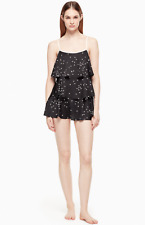 kate spade new york Confetti Dotted Ruffled Charmeuse Chemise (Size S) Black $88