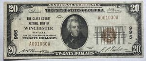 1929 $20 Clark County National Bank of Winshester, Kentucky CH #995 -35 Small