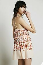 NEW Free People IFP ivory gold Sheer Floral Strappy Back Swingy Slip Dress M