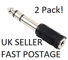 2 x 3.5mm to 6.35mm Audio Stereo Headphone Jack Adaptor
