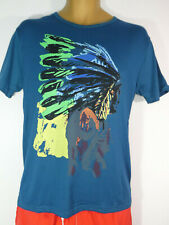 New Mens Boys Tribal Indian Chief T-Shirts Tops Teal BNWT Size XL RRP £18.99