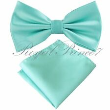 New Men Mint Aqua Green Butterfly Pretied Bow tie & Pocket Square Hanky Wedding