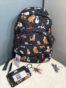 Vera Bradley Holiday Dogs Essential Compact Backpack & Zip ID Case 2021 X62