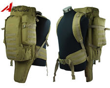 Airsoft Tactical Molle Extended Full Gear Dual Rifle Gun Backpack Bag Case Tan