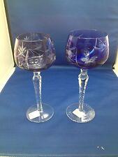 Pair Bohemian Hock Wine Glasses