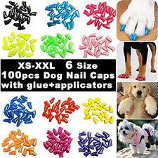 100pcs Dog Nail Caps, Glitter Colors Pet Soft Claws Cover For With Glue And Xl