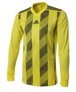 Adidas Men STRIPE 19 Shirts L/S Soccer Jersey Yellow Climalite Shirt DP3212