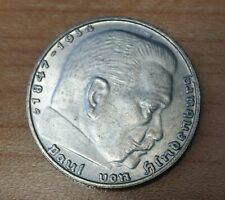 1939 D Germany - Third Reich 2 Reichsmark Km# 93 Silver Double Lettering Error