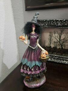 "Halloween Purple Glitter Witch Figurine Sculpture 13"" Sweet Street New"