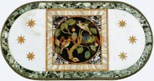 4'x2' Marble Dining Table Top Semi Precious Birds Inlay Restaurant Decors W443