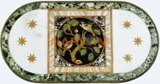 4'x2' White Marble Oval Dining Table Top Semi Precious Birds Inlay Decorate W443