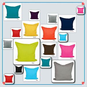 Cotton Plain Dyed Cushion Covers Zipped Entry Home Sofa Car Decor 16''18''20''.