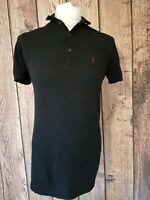 Mens all Saints Polo Shirt Black Medium 40 Chest Ramskull Vgc