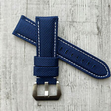 Blue + White Stiching Nylon / leather watch strap Band For 22/24/26mm Panerai