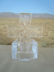 Clear Glass Cross Religious Wedding Tea-lite Candle Holder