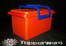 Tupperware ORANGE 28 cup Carry All Tote BLUE Cariolier Handle EUC Tuppercraft