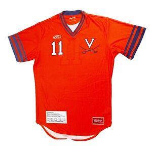 Rawlings Virginia Short Sleeve Baseball Practice Jersey Mesh Men's Medium Orange