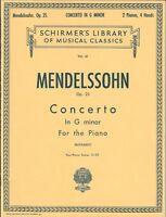 MENDELSSOHN PIANO CONCERTO IN G MINOR NO 25 FOR TWO PIANOS VOL 61 SCHIRMER