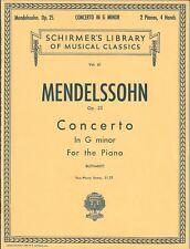 MENDELSSOHN Op. 25 CONCERTO G MINOR  PIANO SOLO SHEET MUSIC BOOK TWO PIANOS